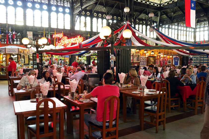 Mercado Central de Santiago con Restaurante en salón central