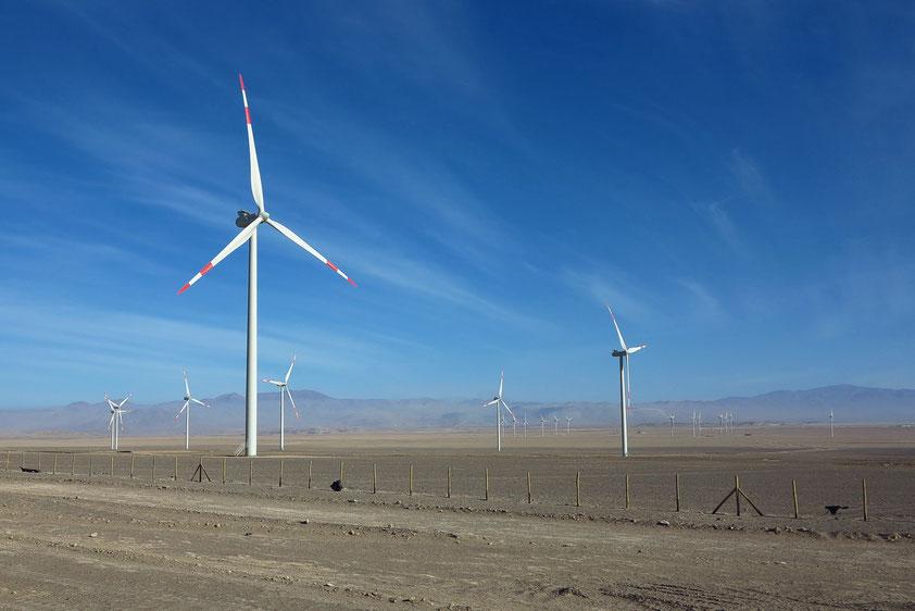 Großwindräder in der Wüste zur elektrischen Energiegewinnung