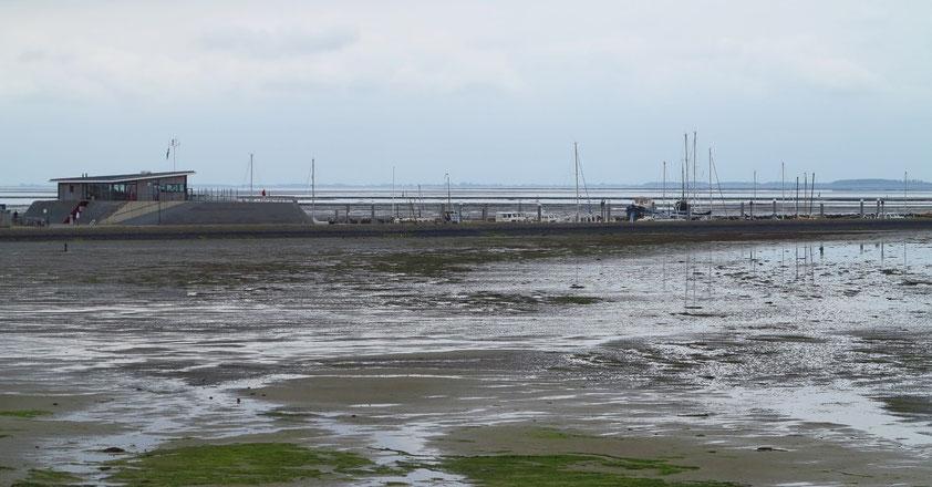 Yachthafen im Wattenmeer von Schiermonnikoog, das Hafengebäude liegt auf einer künstlichen Warft