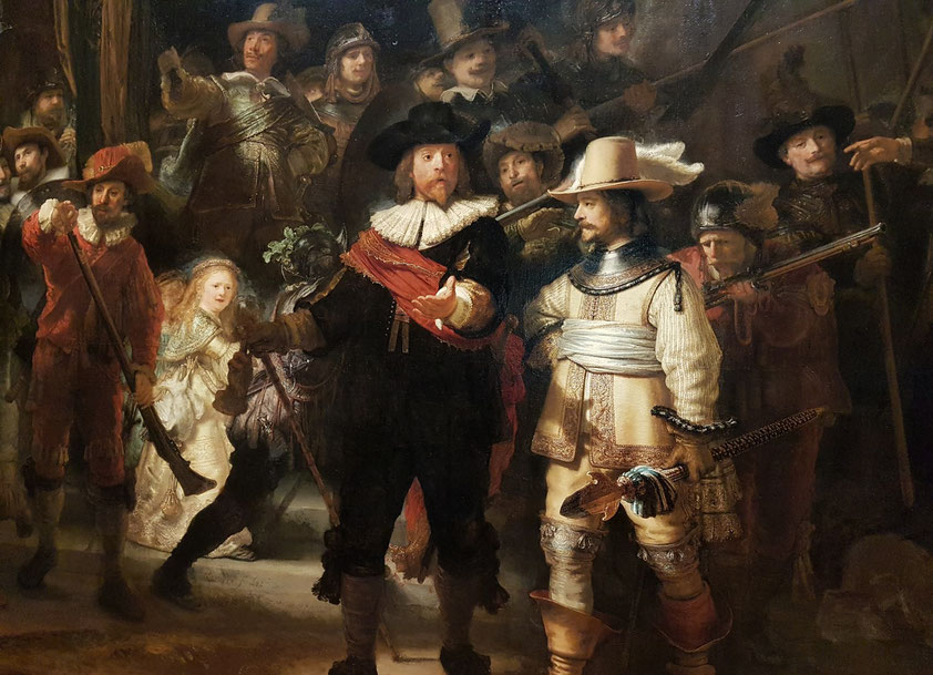 Rembrandt van Rijn: Die Nachtwache, Öl auf Leinwand, 363 × 437 cm, 1642
