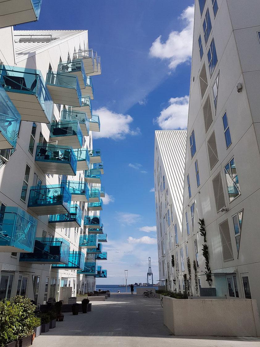 Aarhus. Wohnprojekt Isbjerget: Durchblicke und Sichtachsen zwischen den Gebäuden und der Wasserfront