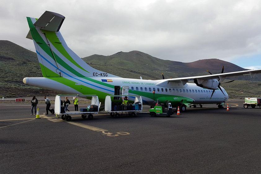 Ankunft mit der ATR 72 der BinterCanarias auf dem Aeropuerto de El Hierro am 28.1.2019 um 14:40 Uhr