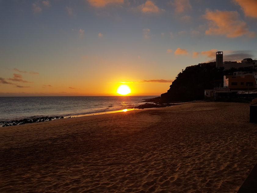 Sonnenuntergang am Strand von Morro Jable