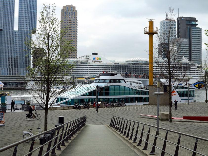 Blick vom Willemsplein 85 auf ein Schiff des Bootstourenanbieters Spido B.V., im Hintergrund die Wolkenkratzer von Kop van Zuid