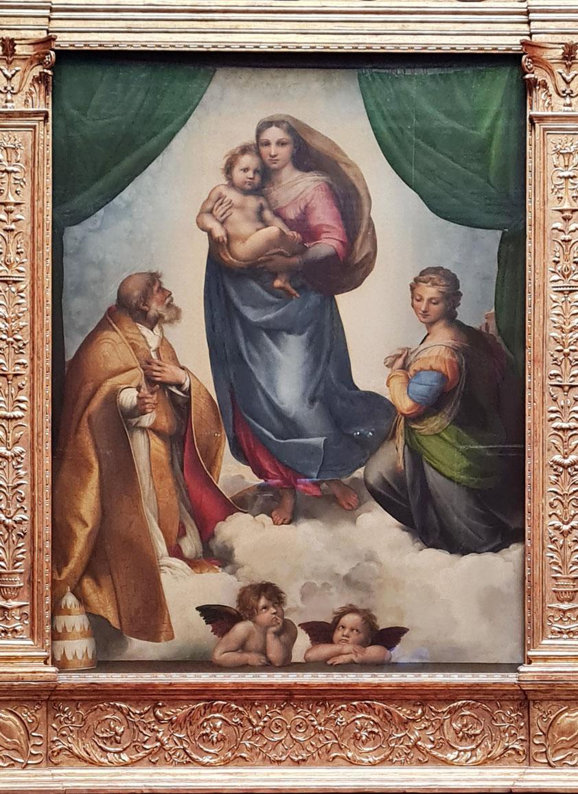 Sixtinische Madonna von Raffael, Öl auf Leinwand 256× 196cm, 1512/13