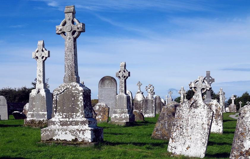 Clonmacnoise. Hochkreuze auf dem Gelände der bedeutendsten Klosteranlage Irlands