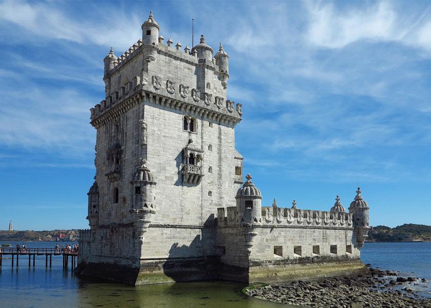 Torre de Belém, ein Wahrzeichen Lissabons im manuelinischen Stil