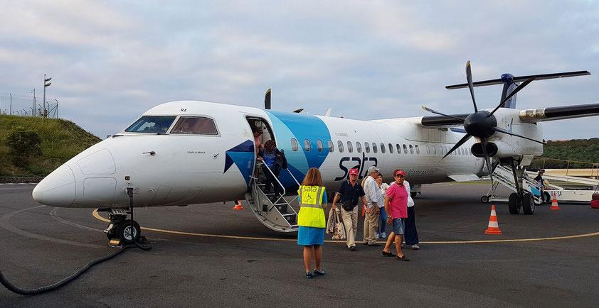 Ankunft mit der Bombardier Q 400 auf Terceira