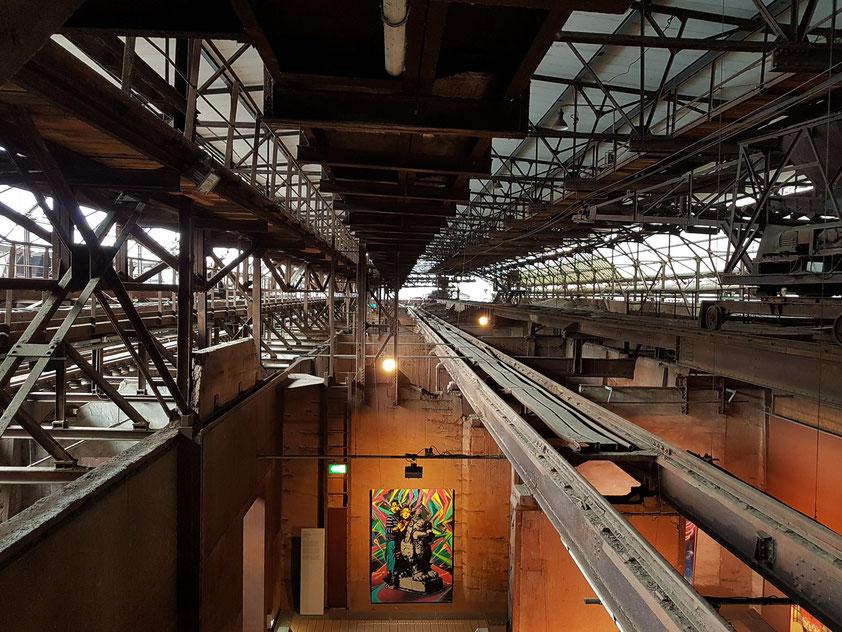 Möllerhalle zur Lagerung von Eisenerzen, Sinter, Schrott und Kalk, sie wird heute für Kunstausstellungen genutzt