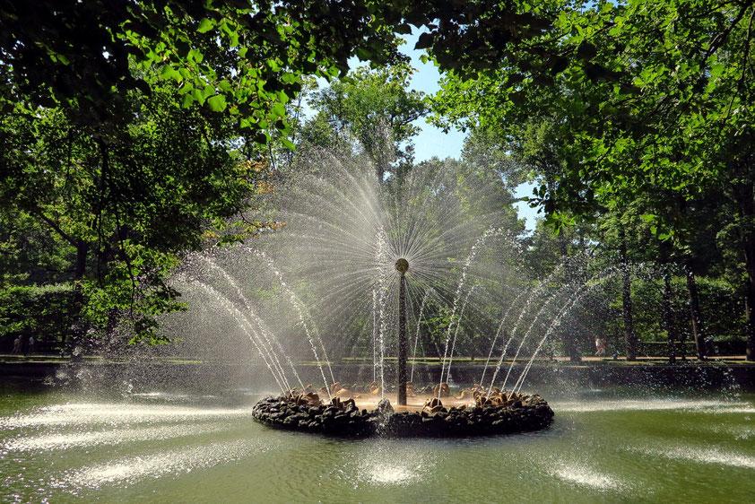 Im Unteren Garten: eine der originellen Wasserspiele von über 150 Fontänen