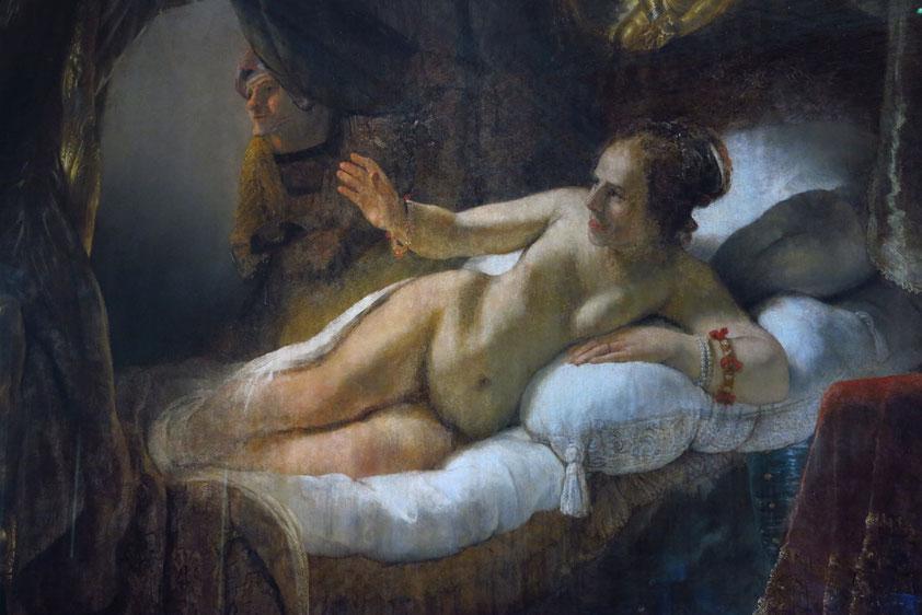 Rembrandt van Rijn (1606 - 1669), bedeutender niederländischer Künstler des Barock. Danae, Öl auf Leinwand, 185 x 203 cm, (Ausschnitt). Das Werk wurde 1985 von einem Verrückten mit Schwefelsäure und zwei Messerschnitten zerstört, bis 1997 restauriert.