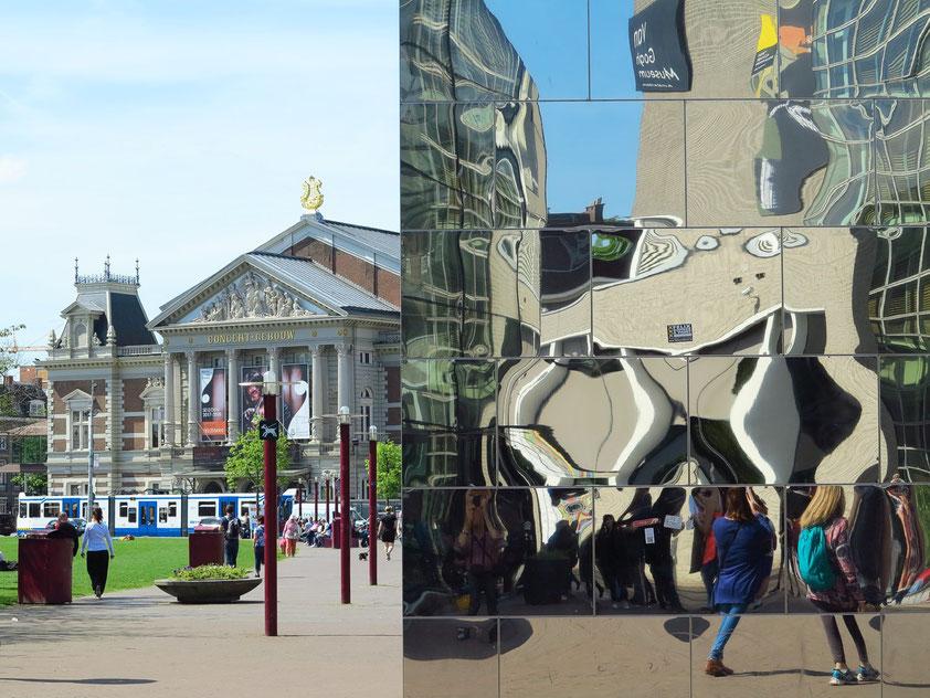 Spiegelnder Kubus vor dem Stedelijk Museum (rechts) und Blick auf das Concertgebouw