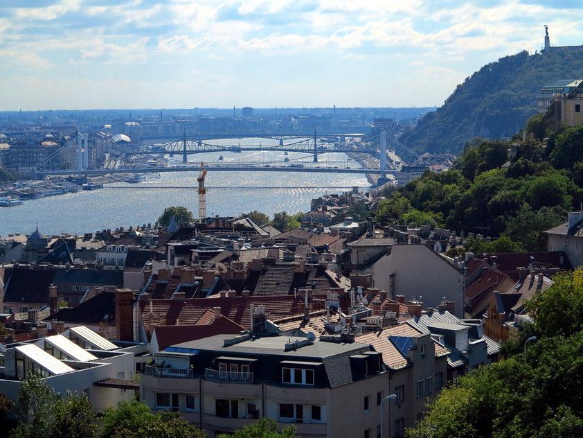 Blick von der Fischerbastei nach Süden auf die Donau mit ihren Brücken, rechts der Gellért-Berg mit der Zitadelle