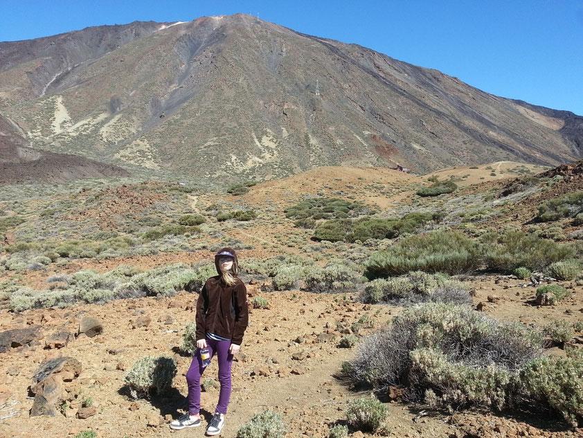 Wanderung in den Canadas de Teide auf dem Wanderweg Nr. 19. Blick auf den Pico de Teide (3 718 m) mit der Seilbahn