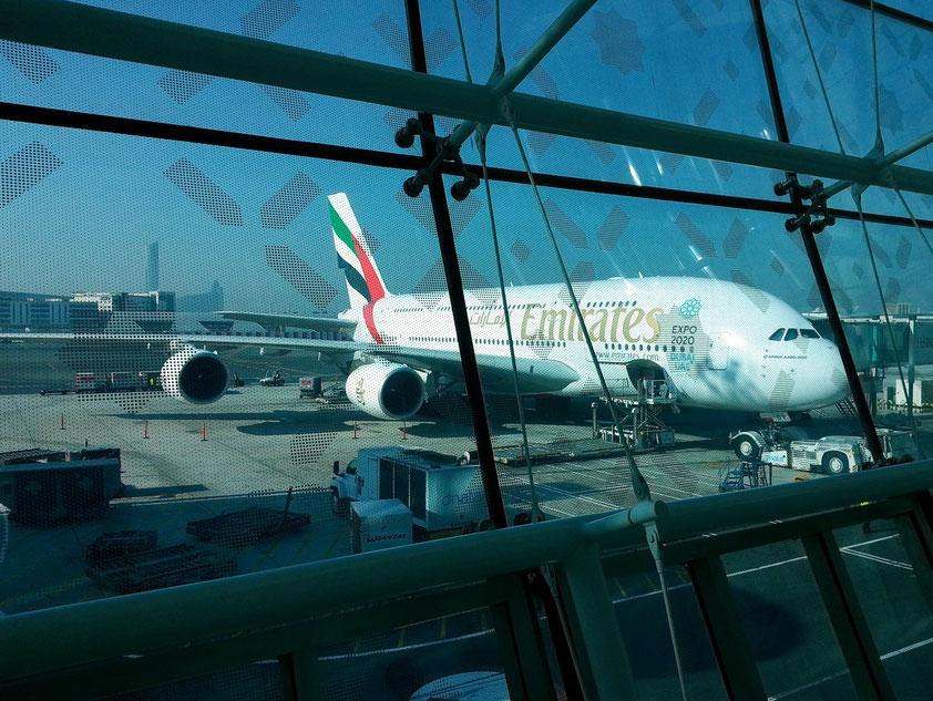 Der Airbus 380, größtes Passagierflugzeug der Welt, steht für uns startbereit nach Dubai.