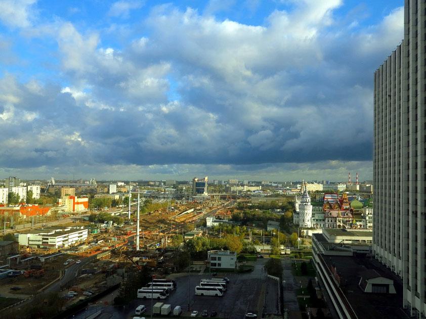 Blick aus Zimmer 1331 im 13. Stockwerk nach Norden