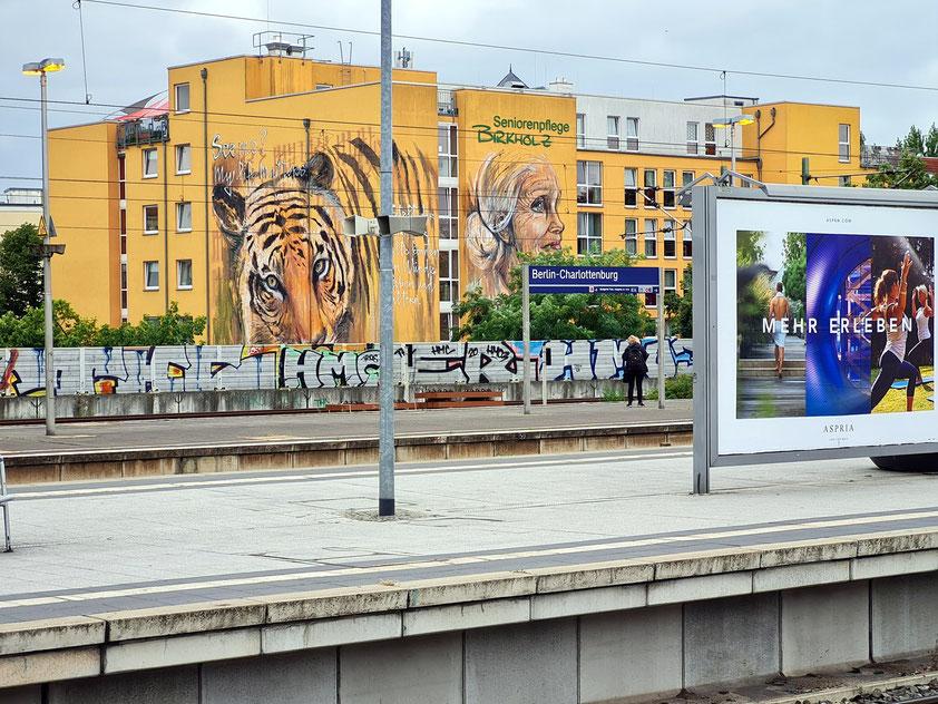 S-Bahnhof Berlin-Charlottenburg, Blick von den Bahnsteigen zur Seniorenpflege Birkholz
