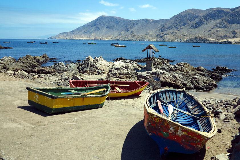 Fischerboote im Hafen des Pan de Azucar Nationalparks