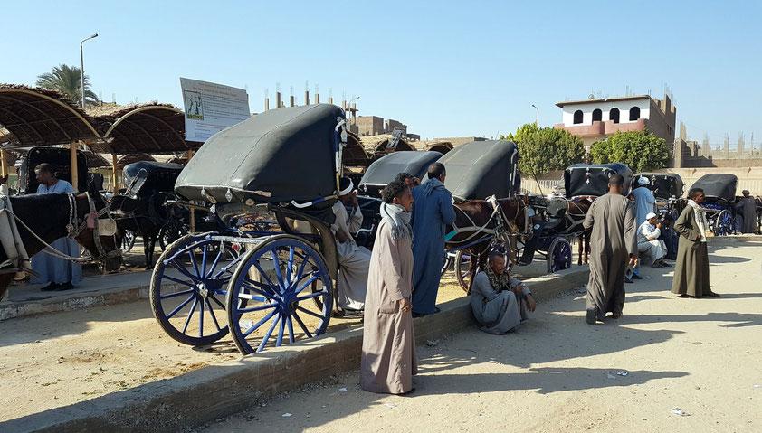 Pferdekutschen für die Touristen zwischen dem Nilufer und dem Tempel von Edfu