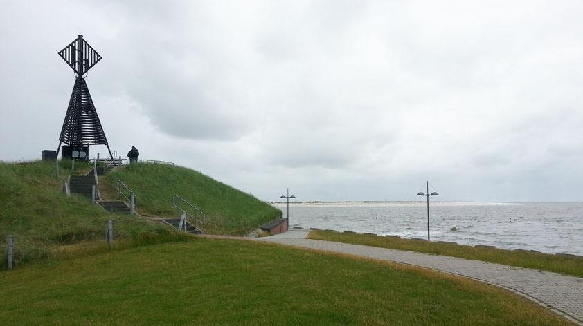 Bake am Westende von Baltrum, Blick zur Nachbarinsel Norderney
