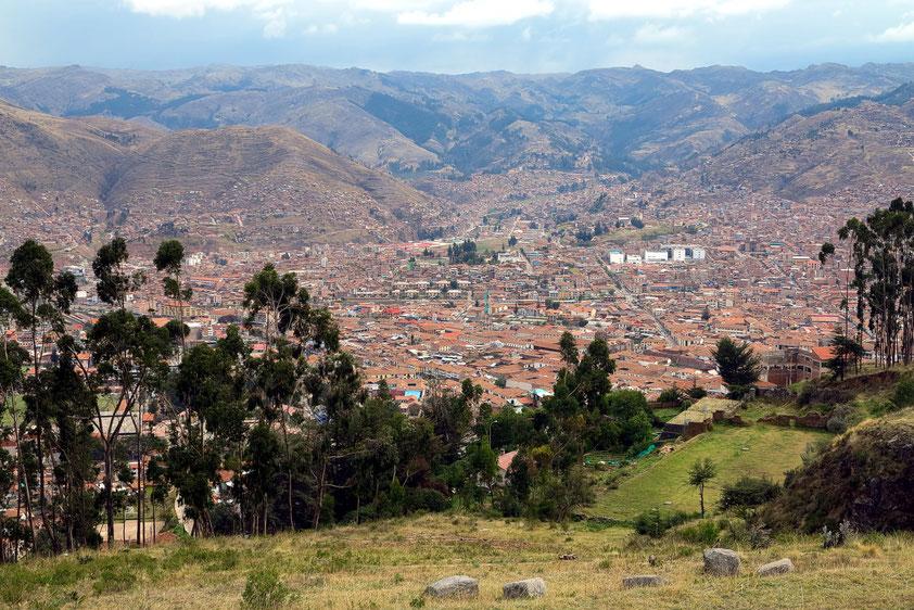 Blick von Sacsayhuamán auf Cusco