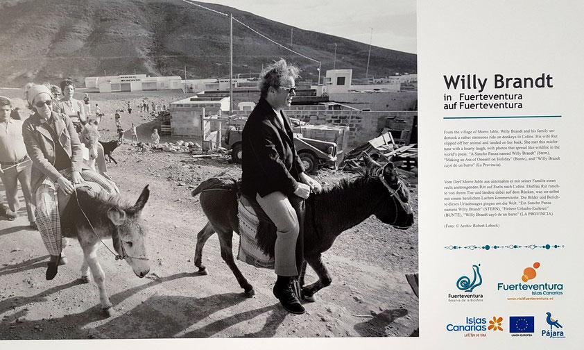 """""""Ein Sancho Pansa namens Willy Brandt"""" (STERN). Der ehemalige Bundeskanzler Willy Brandt mit seiner Frau Rut beim Ritt von Morro Jable nach Cofete (Foto: R. Lebeck)"""