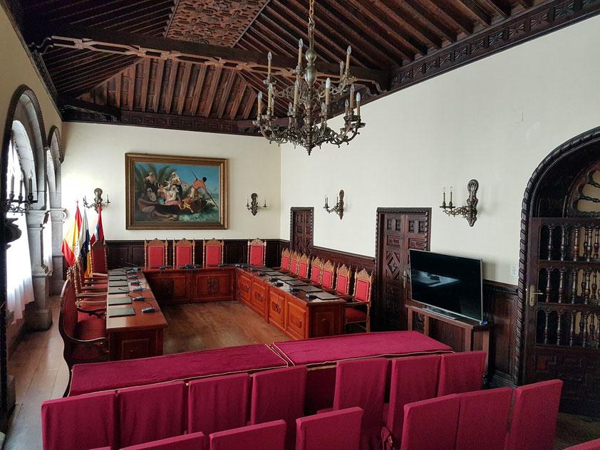 Sitzungssaal im Rathaus von Santa Cruz de la Palma, erbaut 1559-1563 im Renaissancestil
