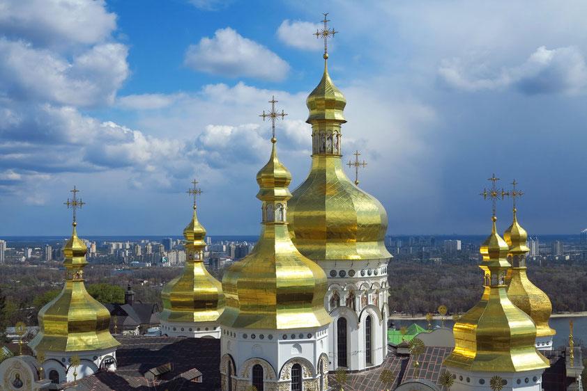 Blick vom Glockenturm auf die Kuppeln der Mariä-Himmelfahrt-Kathedrale