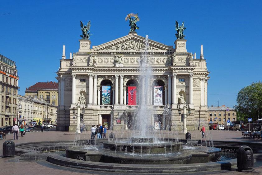 Lviv (Lemberg). Opernhaus von 1900, eine der Hauptsehenswürdigkeiten der westukrainischen Stadt