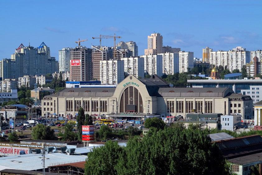 Bahnhof Kiew-Passajirskij (Vokzalna), Blick vom Hotel Lybid