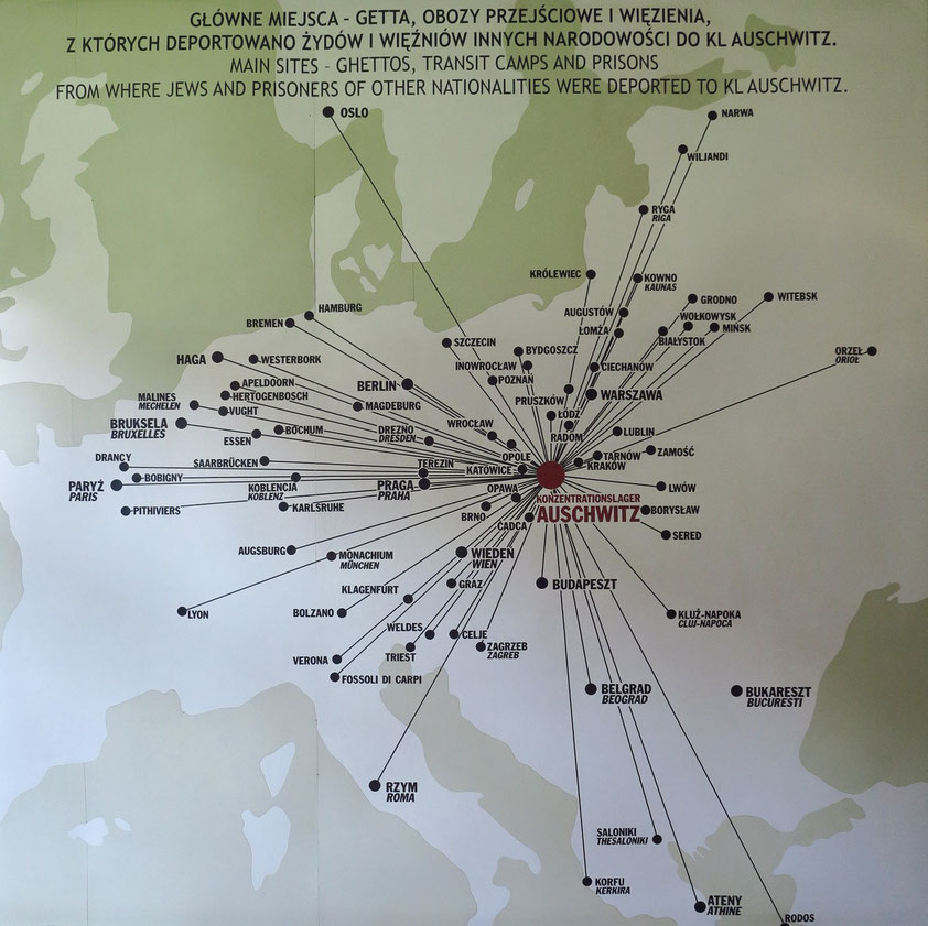 Hauptorte, aus denen Juden und Gefangene anderer Nationalitäten nach Auschwitz deportiert wurden