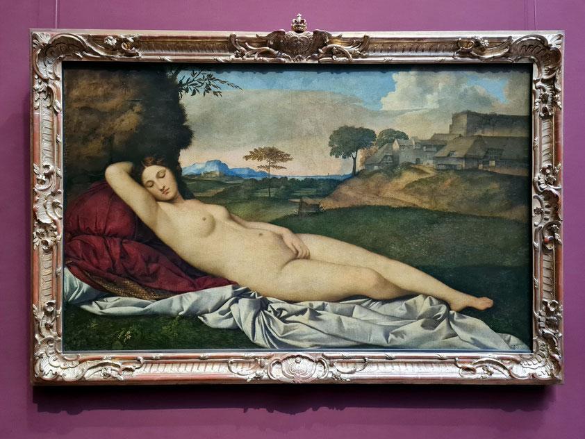 Giorgione/Tizian: Schlummernde Venus, 108,5× 175cm, 1510