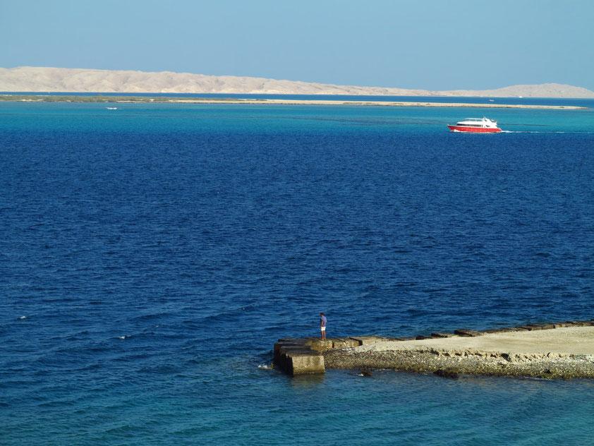 Hurghada. Blick von der Sheraton Road auf Giftun Island