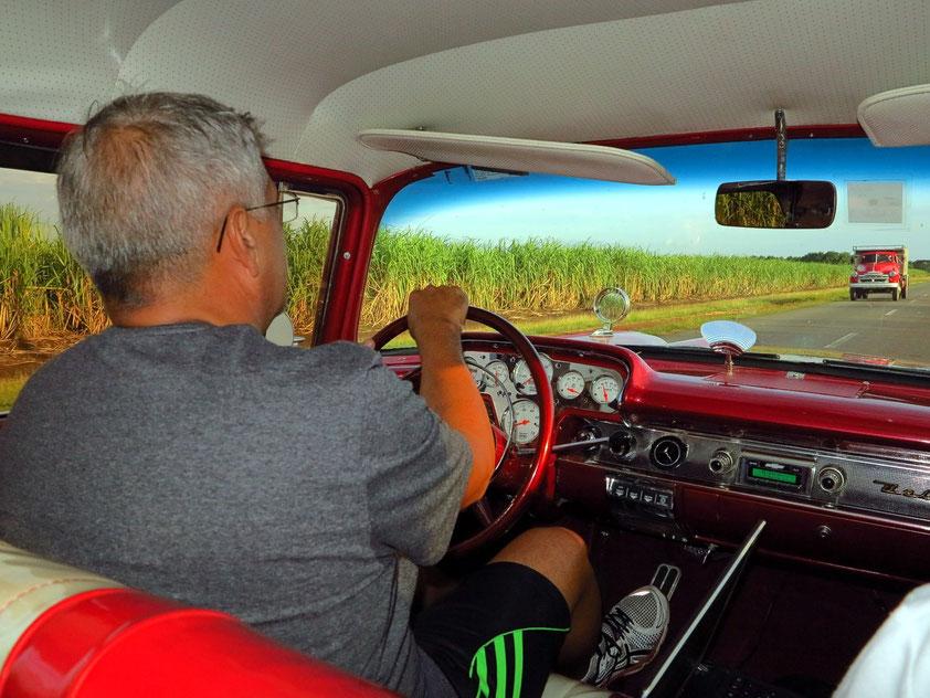 Fahrt durch Zuckerrohrfelder nach Cienfuegos