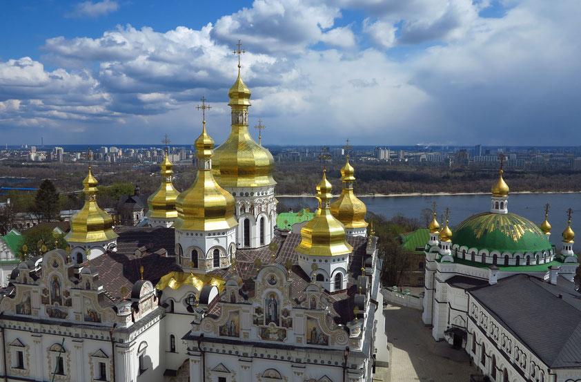 Kiew. UNESCO-Welterbe - Mariä-Himmelfahrt-Kathedrale und Refektoriumskirche in der Oberen Lawra des Höhlenklosters