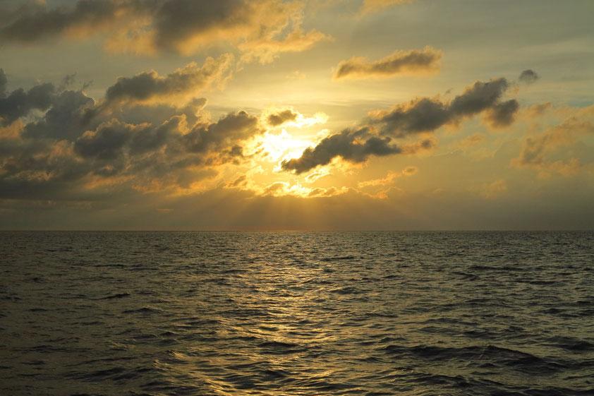 Sonnenuntergang über dem Wattenmeer südlich von Harlingen