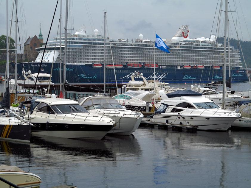 Kreuzfahrtschiff MEIN SCHIFF 6 im Hafen von Oslo vor der Festung Akershus