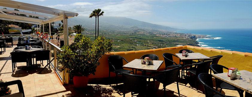 Café Vista Paraíso in Santa Ursula, Blick ins Orotava-Tal und nach Puerto de la Cruz