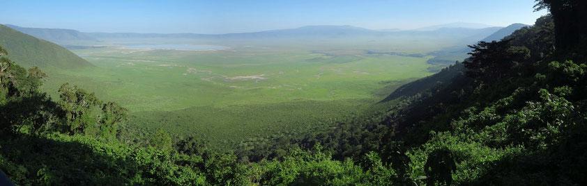 Panoramablick vom Aussichtspunkt an der Straße in den Ngorongoro-Krater