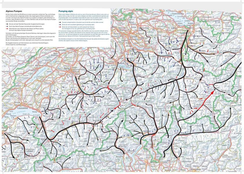 Il s'agit d'une carte des brises qui se trouvent dans les Alpes suisse