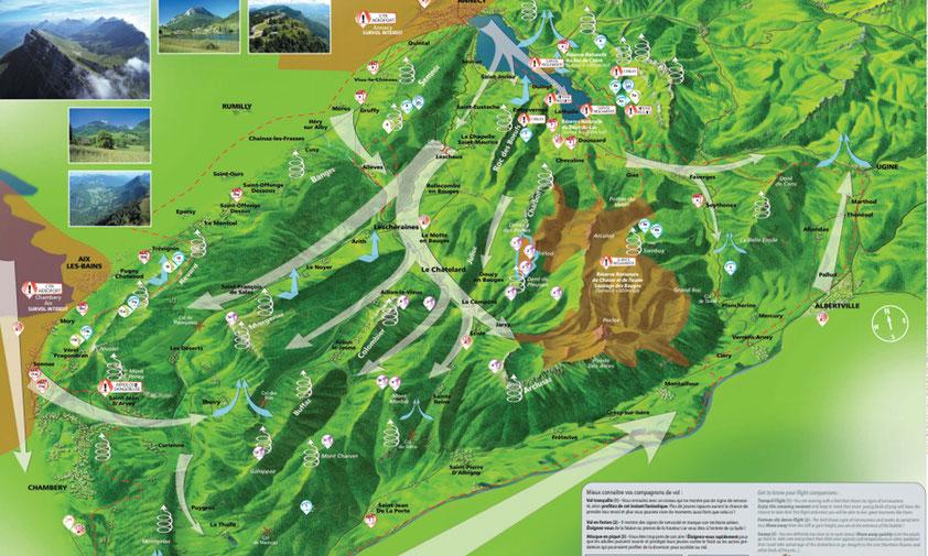 Les brises dans le massif des Bauges ainsi que les zones propice aux déclenchement thermique