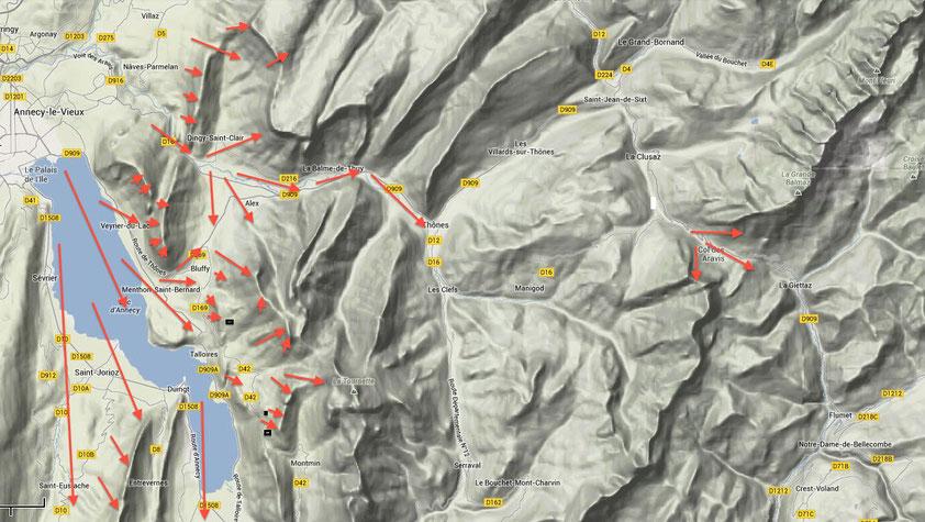Les brises et zones confluentes du lac d'annecy
