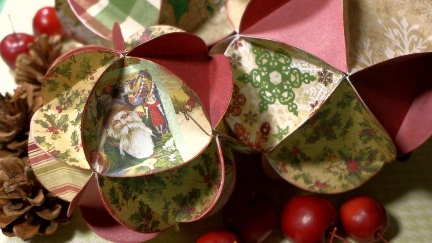 Weihnachten - Weihnachtskugeln aus Papier im Vintage Look DIY