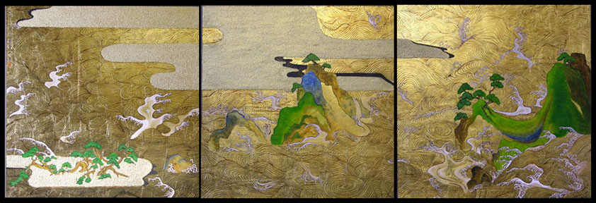 "Gold leaf painting ""Only the heart sees well – Golden waves"""