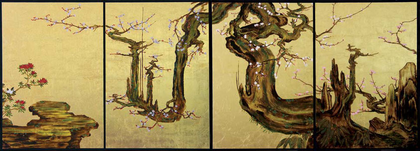 "Goldleaf painting ""Old plumtree"" (based on Kano Sansetsu)"