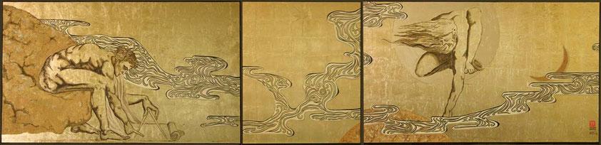 "Gold leaf painting: Tryptichon ""Architect"" (based on William Blake)"