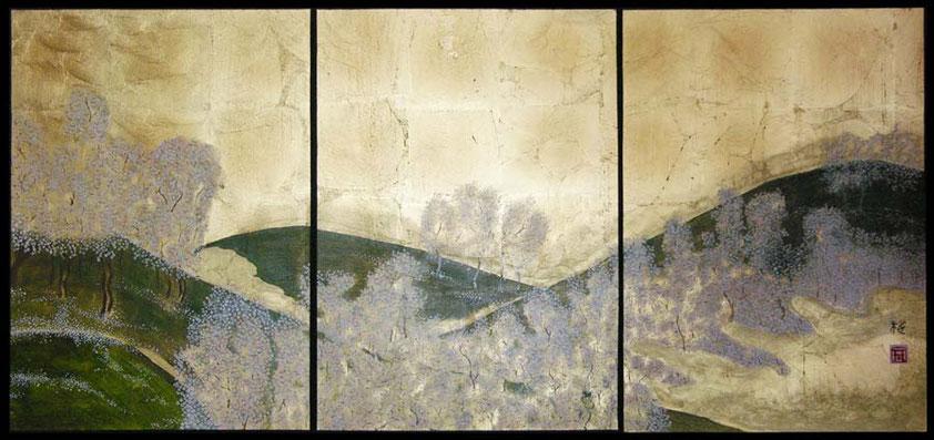 "Goldleaf painting ""Cherry blossom in Yoshino"""