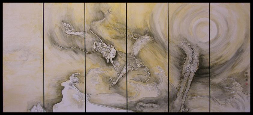 Blattgoldbild: Libelle und Drache tanzen
