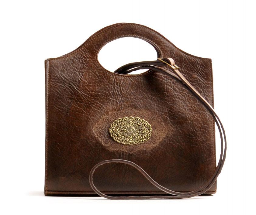 OWA Tracht Ledertasche Trachtentasche braun mit Schmuckelement