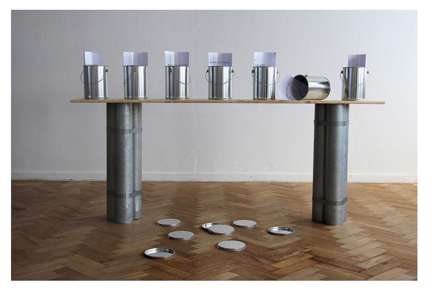 Dosenkunst, Installation mit 7 Texten zum Thema Zeit